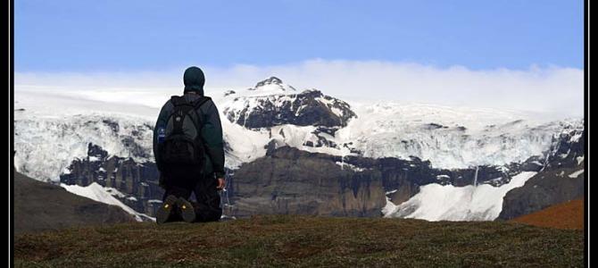 Trek do hor svýhledem na ledovce – Island